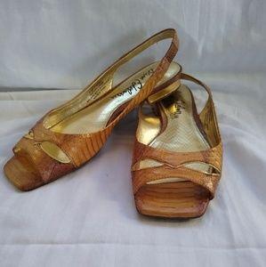 Sam Edelman Gold Raina Leather Slingback Flats 7.5